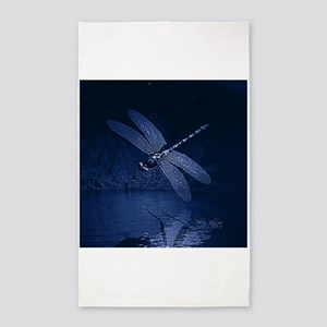 Blue Dragonfly at Night 3'x5' Area Rug