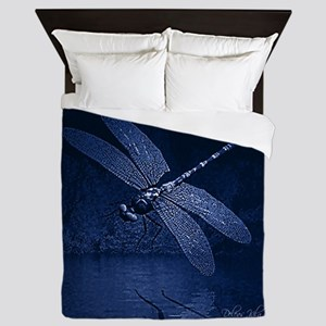 Blue Dragonfly at Night Queen Duvet