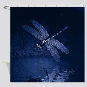 Blue Dragonfly at Night Shower Curtain
