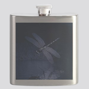 Blue Dragonfly at Night Flask