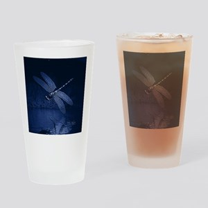 Blue Dragonfly at Night Drinking Glass