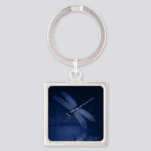 Blue Dragonfly at Night Keychains