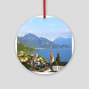 Switzerland Swiss landscape Ornament (Round)