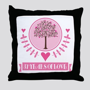 37th Anniversary Love Tree Throw Pillow