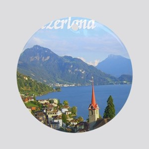 Switzerland view over lake Ornament (Round)