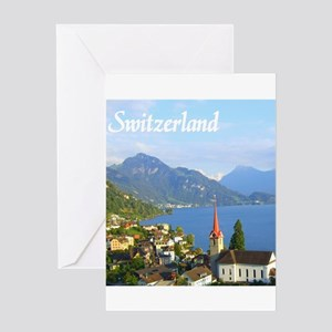 Switzerland view over lake Greeting Cards