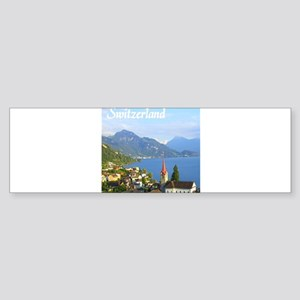 Switzerland view over lake Bumper Sticker