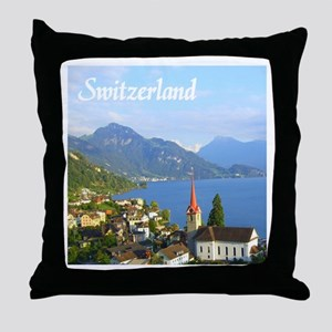 Switzerland view over lake Throw Pillow