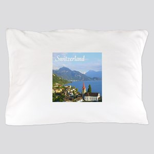 Switzerland view over lake Pillow Case
