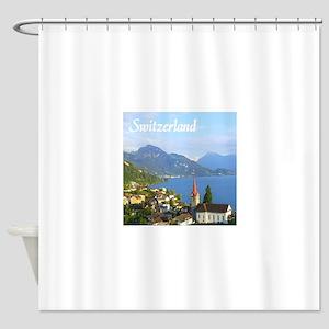 Switzerland view over lake Shower Curtain