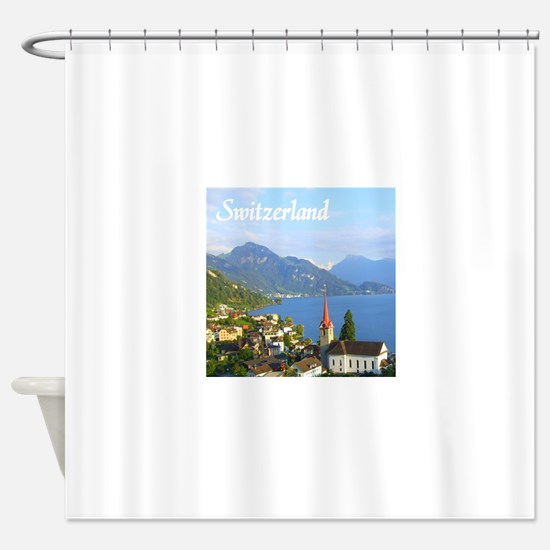 Switzerland view over lake Shower Curtain