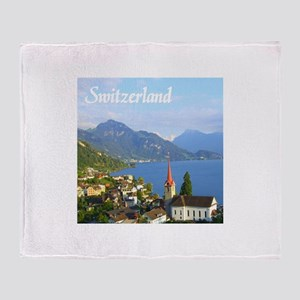 Switzerland view over lake Throw Blanket