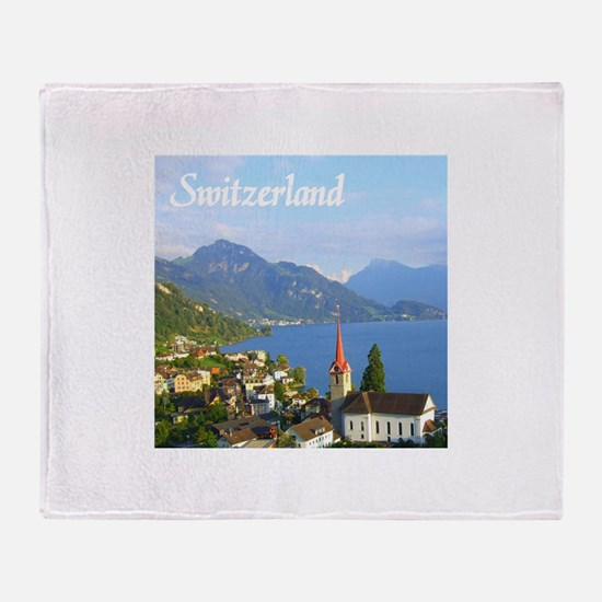 Switzerland view over lake Throw Blanket