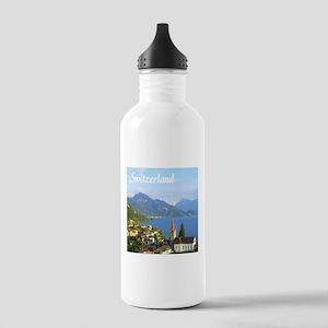 Switzerland view over lake Water Bottle