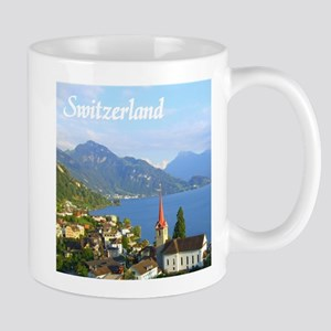 Switzerland view over lake Mugs