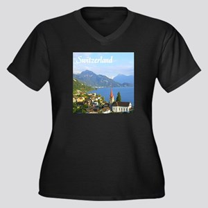 Switzerland view over lake Plus Size T-Shirt