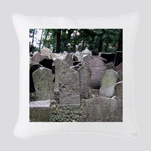 Prague Cemetery Gravestones Woven Throw Pillow