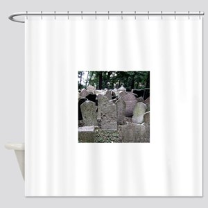 Prague Cemetery Gravestones Shower Curtain