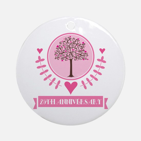 25th Anniversary Love Tree Ornament (Round)