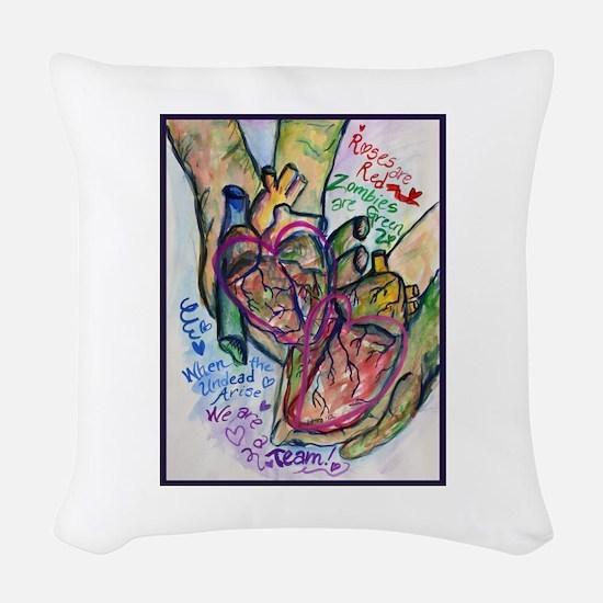 Zombie Love Poem Woven Throw Pillow