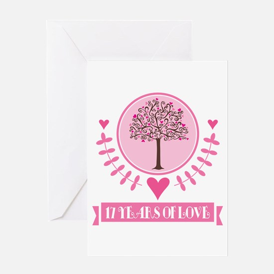 17th Anniversary Love Tree Greeting Card