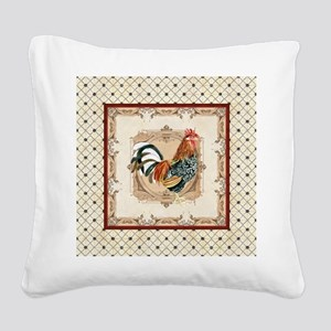 Vintage Rooster Country French Watercolor Cream Sq