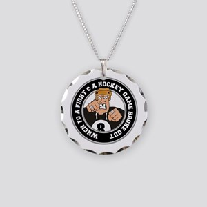 Funny Hockey Player Necklace Circle Charm