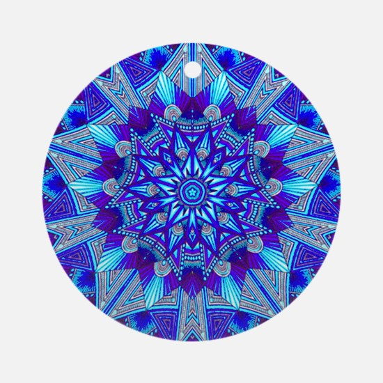Blue and Purple Patterned Star Round Ornament