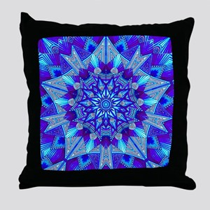 Blue and Purple Patterned Star Throw Pillow