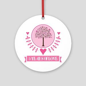 5th Anniversary Love Tree Ornament (Round)