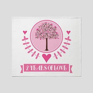 2nd Anniversary Love Tree Throw Blanket