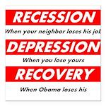 recession Square Car Magnet 3