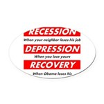 recession Oval Car Magnet
