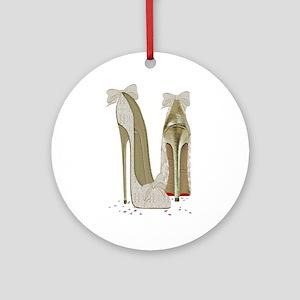 Wedding High Heel Stilettos Art Ornament (Round)