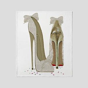 Wedding High Heel Stilettos Art Throw Blanket