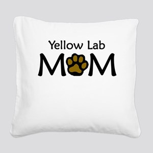 Yellow Lab Mom Square Canvas Pillow