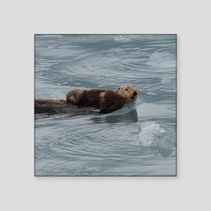 "sea otter and baby Square Sticker 3"" x 3"""