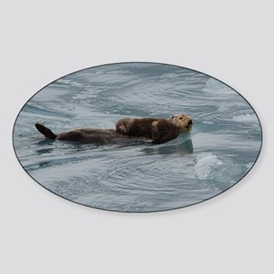 sea otter and baby Sticker (Oval)