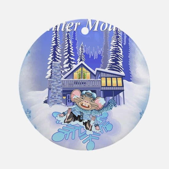Winter Mouse Round Ornament