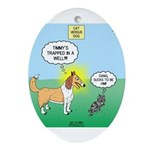 Cat vs Dog Oval Ornament