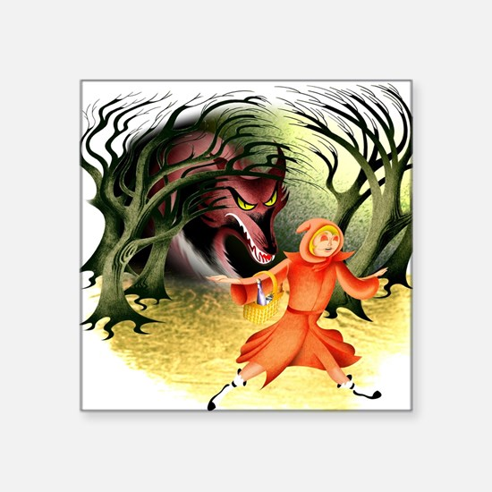 """Meet Red Riding Hood and th Square Sticker 3"""" x 3"""""""