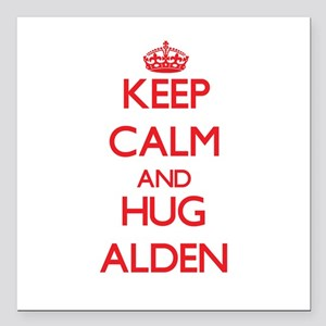 "Keep Calm and HUG Alden Square Car Magnet 3"" x 3"""