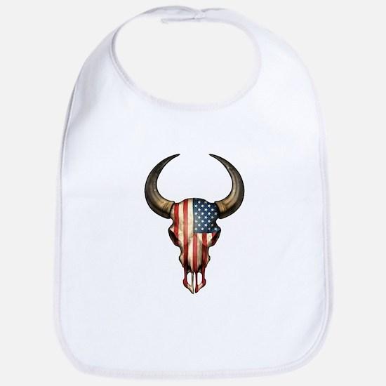 American Flag Bull Skull Bib