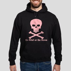 Go Brief Steno Skull Pink front only Hoodie (dark)