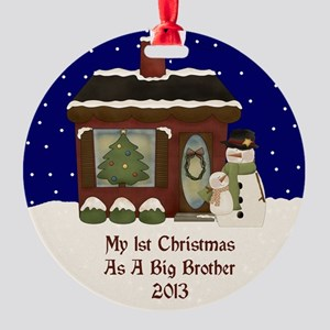 1St Christmas As A Big Brother 2013 Round Ornament