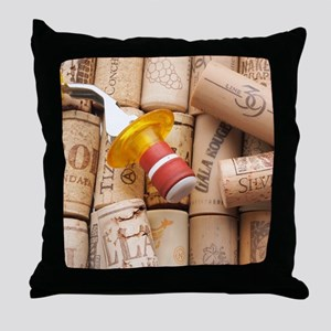 Wine Bottle Topper With Used Corks Throw Pillow