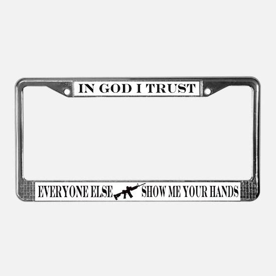 Cute Self defense License Plate Frame