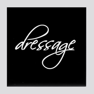"""dressage"" white text Tile Coaster"