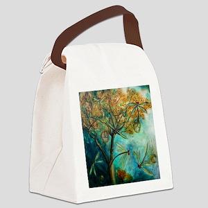 Dragonfly Flirtation Canvas Lunch Bag
