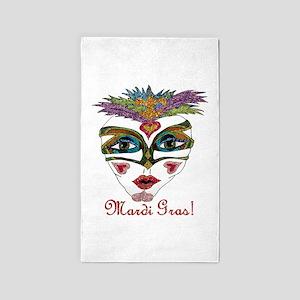Mardi Gras Feather Mask 3'x5' Area Rug